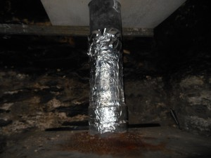 "This customer toldme that his chimney was ""insulated"". He put this around the flue to stop the tar dripping onto the stove ! Needless to say I advised him to stop using the appliance and chimney."