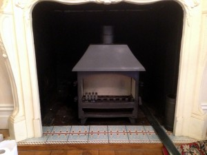 The Old stove taken out and refurbished is now being fitted elsewhere.