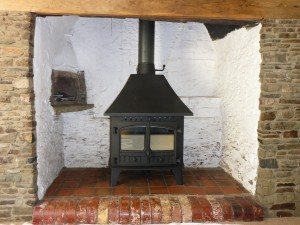 The New Hunter Stove - Much higher Efficiency.The Customer has selected a Woodburner as he harvests his own timber. A Multi fuel version is also available.